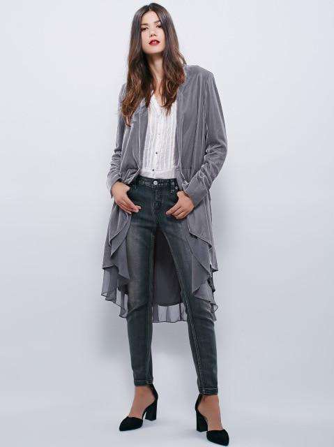 Elegant Velvet Chiffon Ruffles Trench Coat Women Fashion Open Stitch Dovetail Casacoliilgal-liilgal