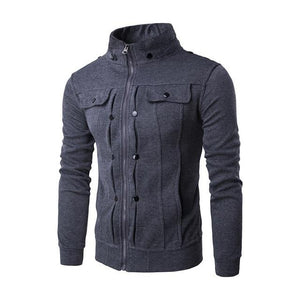 Casual Mens Jackets Solid Color zipper Jacket Male Casual Stand Collar Cottonliilgal-liilgal