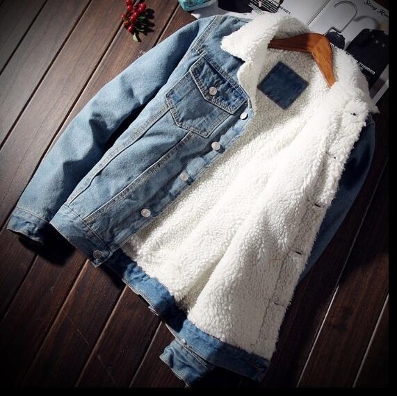 Men Jacket and Coat Trendy Warm Fleece Denim Jacket 2018 Winter Fashionliilgal-liilgal