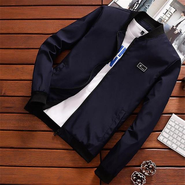 Summer Autumn Mens Jacket Stand Collar Windbreaker Male Blue Baseball Jackets Casualliilgal-liilgal
