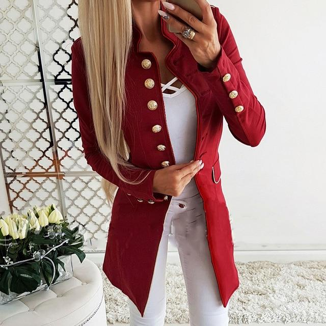 Fashion Single Breasted Winter Slim Jacket Solid Office Women Long Coat Overallliilgal-liilgal