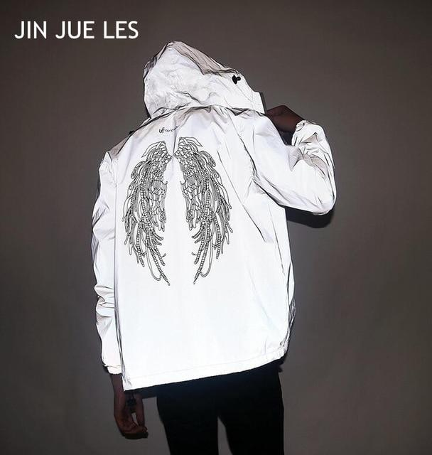new fashion men 3M reflective jacket waterproof hiphop wings letters printed coupleliilgal-liilgal