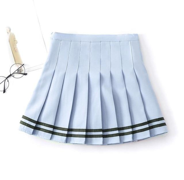 Women Plaid Skirt Lolita Style Harajuku Kawaii Sweet Striped Skirts Mini Cuteliilgal-liilgal