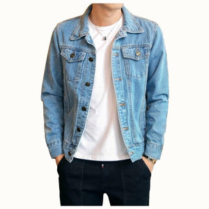 2018 Cotton Solid Denim Jacket Mens Spring Autumn Casual Slim Fit Bomberliilgal-liilgal