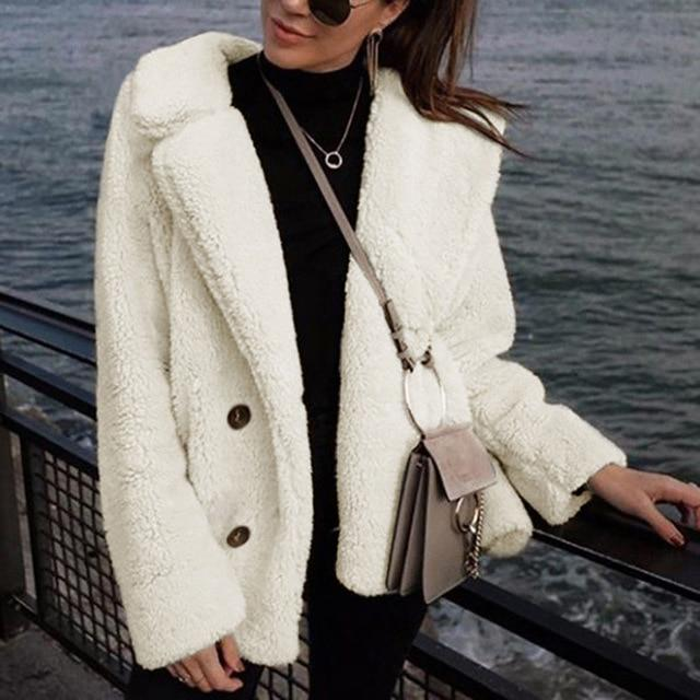 Women Teddy Coat Plus Size Casual Outerwear Autumn Winter Faux Fur Coatliilgal-liilgal