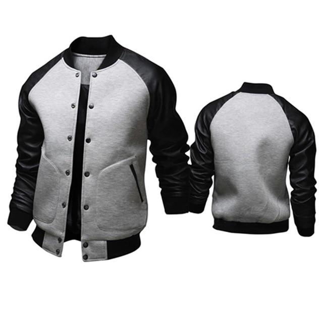 Cool College Baseball Jacket Men Fashion Design Pu Leather Sleeve Mensliilgal-liilgal