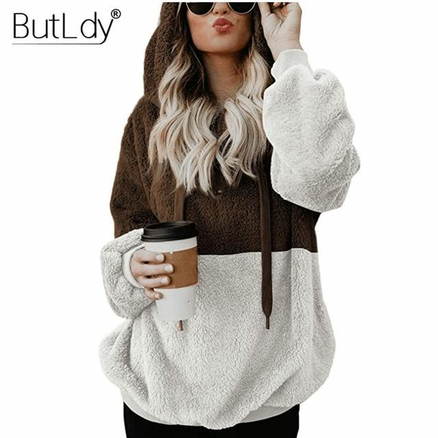 Patchwork Zipper Sweatshirt Women 2018 Winter Plush Warm Hoodies Long Sleeve Pocketsliilgal-liilgal