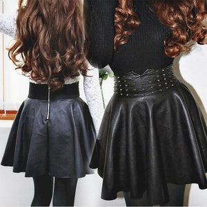 Black slim Faux Leather Mini Skirt Women Fashion High Waist Zipper Inliilgal-liilgal