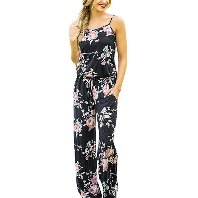 Women Sexy Spaghetti Strap Loose Jumpsuits 2019 New Summer Sleeveless Floral Printliilgal-liilgal