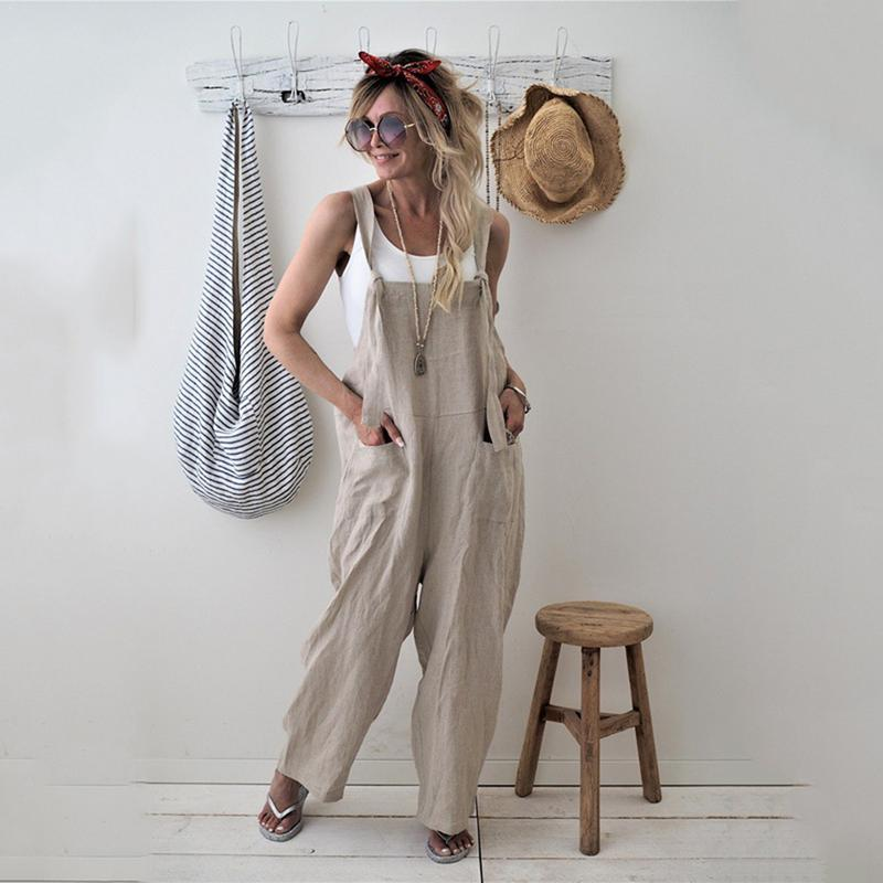 2018 New Womens Casual Loose Linen Pants Cotton Jumpsuit Strap Harem Trousersliilgal-liilgal