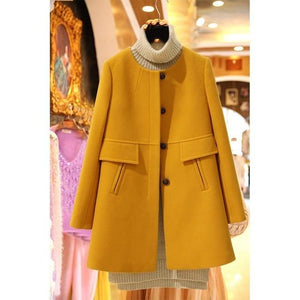 2019 Spring Autumn Fashion Women Wool Coat Casual Plus Size Solid Jacketsliilgal-liilgal