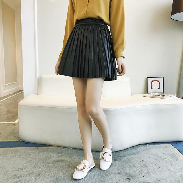 2018 Apricot New Empire None Hot Sale All-match Solid Faux Leather Skirtliilgal-liilgal
