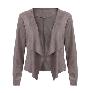 Autumn Irregular Long Sleeve Leather Open Front Short Cardigan Suit Jacket Workliilgal-liilgal