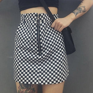 Women Skirts cotton Polyester Grid Pattern A-line Wrapped Plaid Black Short skirtliilgal-liilgal