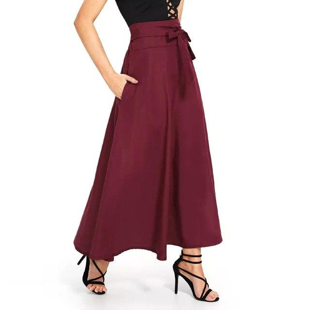 Women Spring Summer Burgundy Green Black Ankle Length Long Skirt Bowliilgal-liilgal