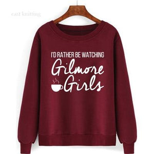WS0106 Women's Round Neck Pullover I'd Rather Be Watching Gilmore Girls Sweatshirtliilgal-liilgal