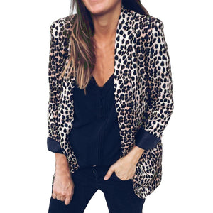 Womens Leopard Print Suit Autumn Winter Long Sleeve Coat Fashion Suitsliilgal-liilgal
