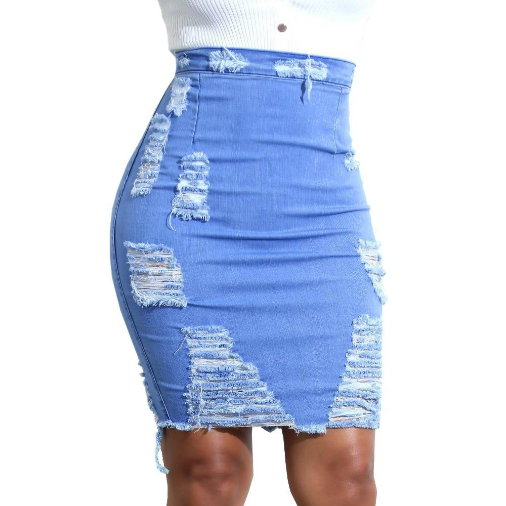 Women Sexy Chic Pencil Skirts Women High Waisted Ripped Denim Skirts Miniliilgal-liilgal
