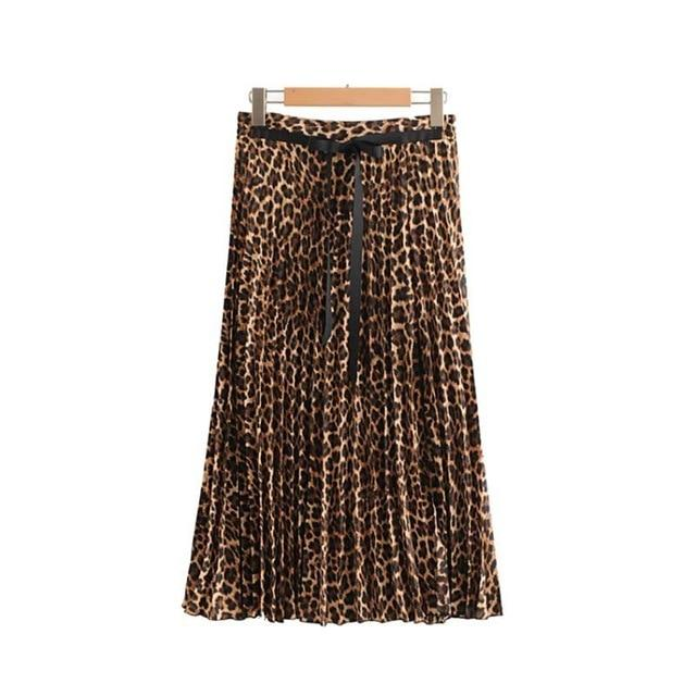 women ins chic leopard print pleated skirt animal pattern faldas mujer Drawstringliilgal-liilgal
