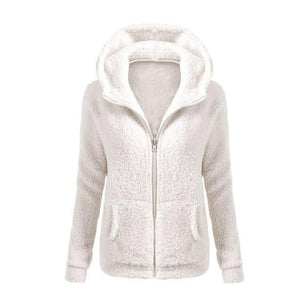 Women Soft Fleece Winter2018 Solid Color Coat Thicken Autumn Warm Jacket Hoodedliilgal-liilgal