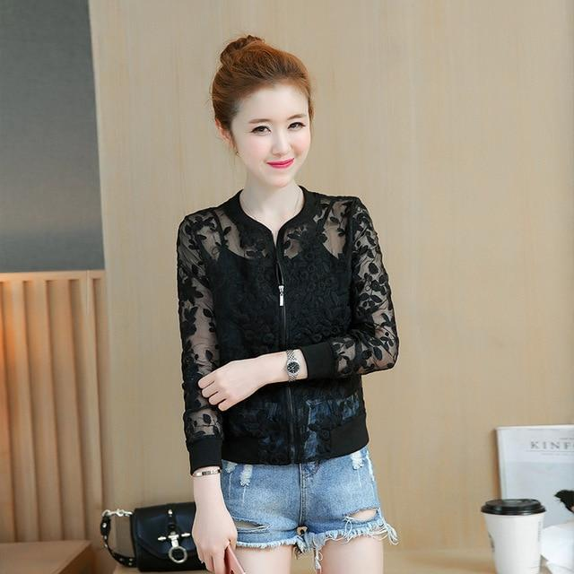 2019 Summer Organza Thin Short Jacket Women Embroidery Lace Women Basic Coatsliilgal-liilgal