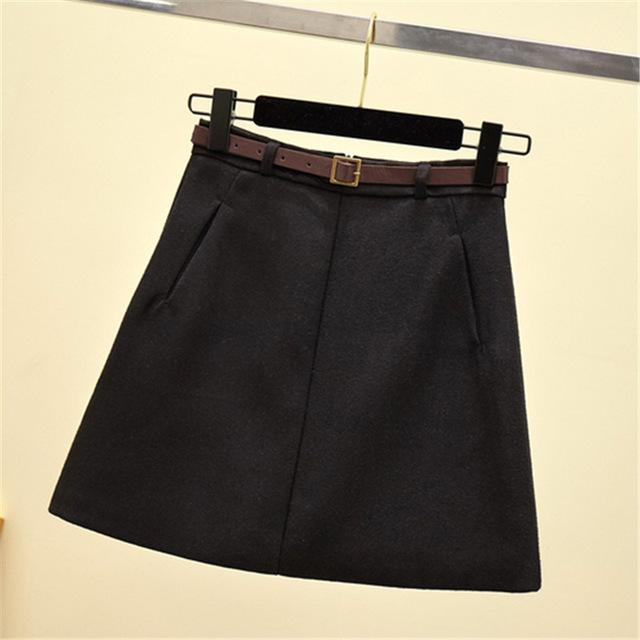 Autumn Winter Ladies A-Line Mini Skirts Women High Waist Solid Mini Skirtsliilgal-liilgal