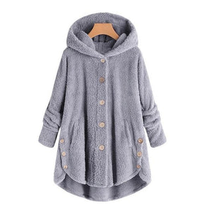 Fashion Women Button Coat Fluffy Tail Tops Hooded Pullover Loose Sweater Hoodedliilgal-liilgal