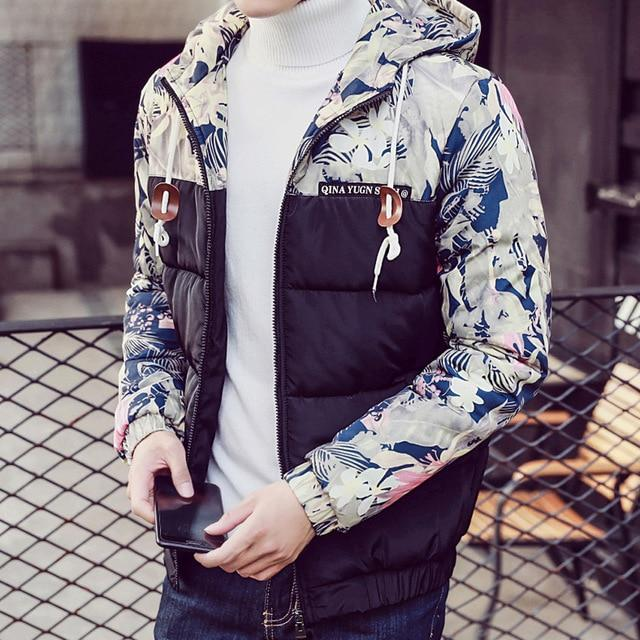 Winter Coat Men 2018 Parka Cotton padded Floral Print Male Jacketliilgal-liilgal