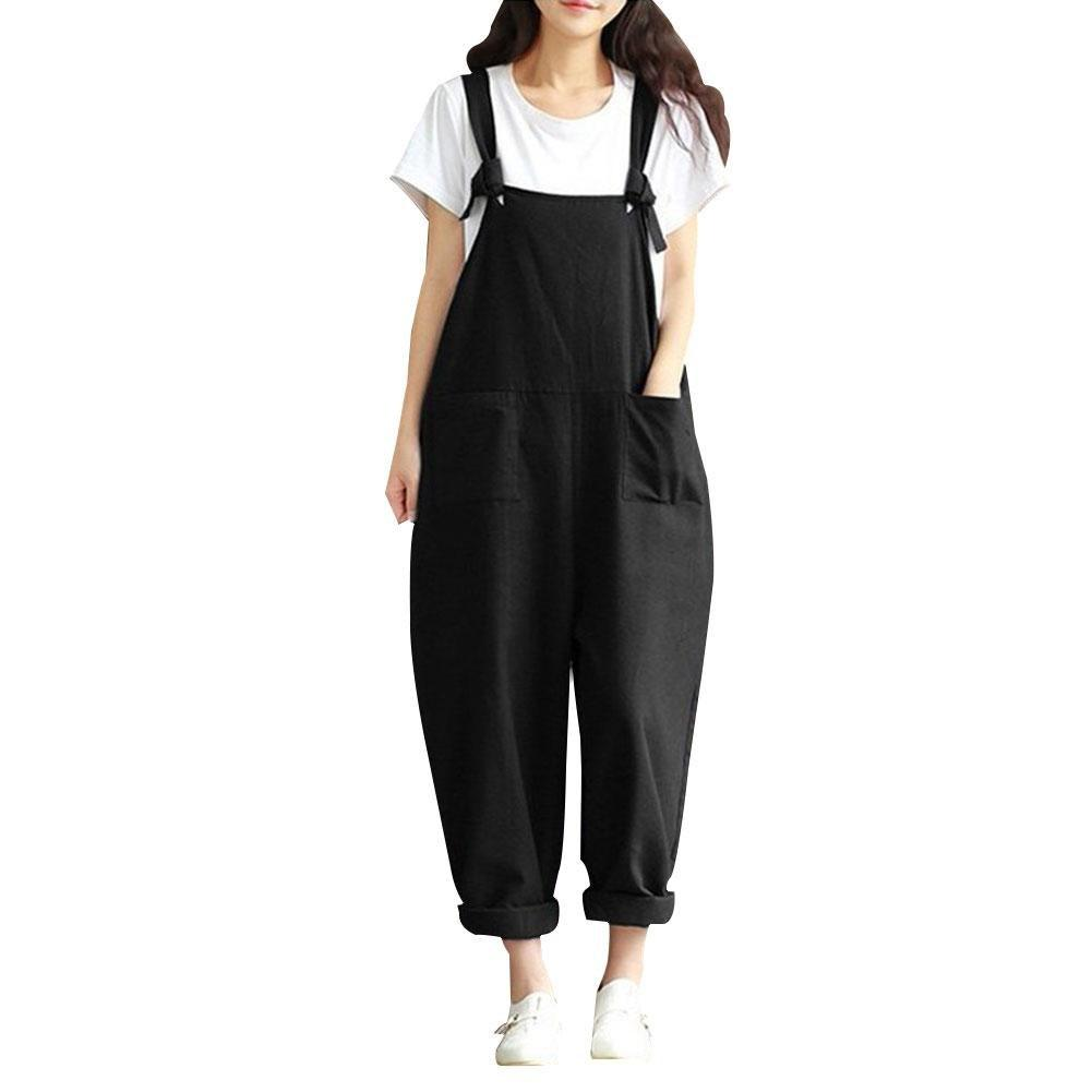 Women Sleeveless Pockets Dungaree Baggy Jumpsuits Overalls Fashion Strappy Loose Long Haremliilgal-liilgal