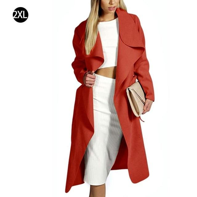 2018 Winter Coat Women Wide Lapel Belt Pocket Coat Oversize Long Redliilgal-liilgal