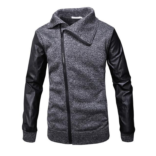 2019 spring fashion men's jacket irregular zipper jacket hip hop patchwork streetliilgal-liilgal
