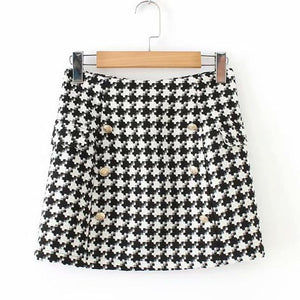 2018 Houndstooth Women Skirts Plus Size Female Double-Breasted Vintage Skirt Jupe Femmeliilgal-liilgal