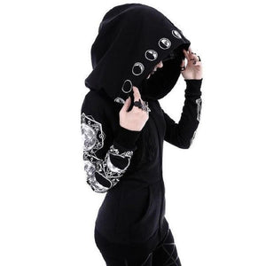 Large Size Gothic Girl Casual Sun Print Women Black Long Sleeve Zipperliilgal-liilgal