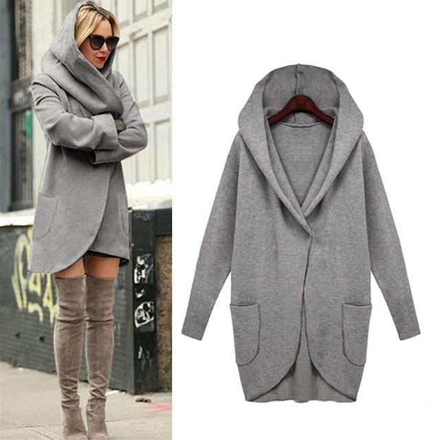 Outerwear & Coats Jackets Fashion Women Woolen Hooded Thin Coat Loose Ladiesliilgal-liilgal