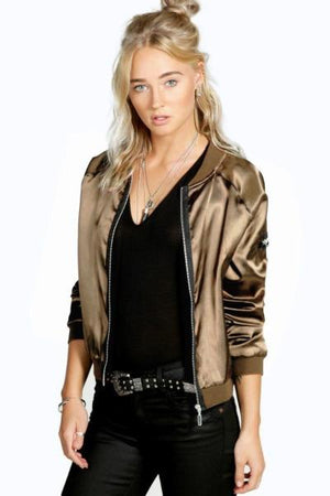 Fashion Sexy Black Silver Zipper Satin Bomber Jacket Women Basic Coats Ladiesliilgal-liilgal