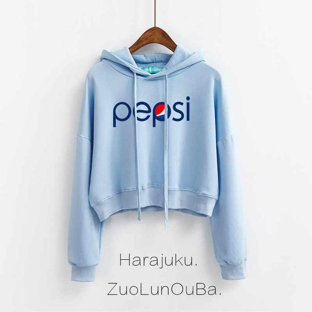 Autumn Hoodies Women Fashion Pepsi Letter Print Harajuku Fleece Thick Clothes Cremalleraliilgal-liilgal