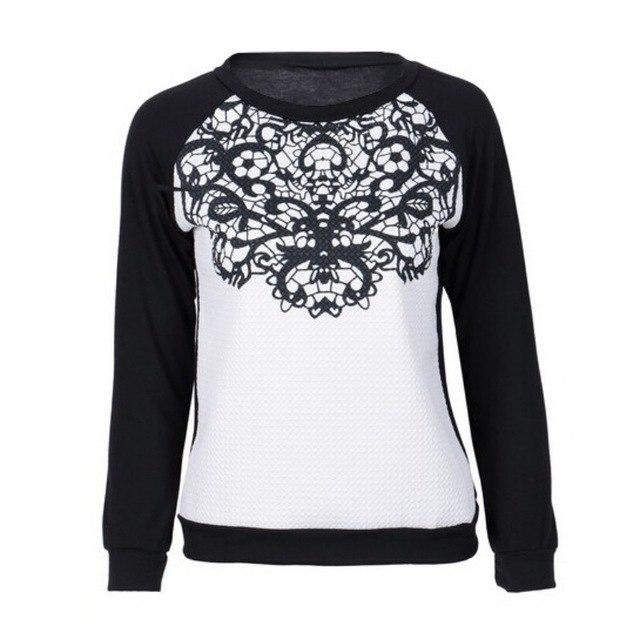 European Style Autumn Winter Women Loose Harajuku Sweatshirts Lace Joint Blockingliilgal-liilgal
