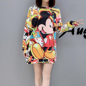 2018New Mickey print in Autumn and Winter cartoon printing large codeliilgal-liilgal