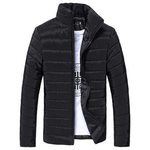 Winter Men Solid Stand Zipper Warm Winter Casual Daily Thick Coatliilgal-liilgal
