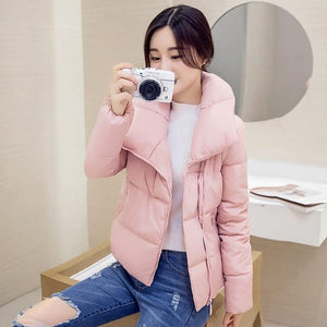 Stand Collar Short Parka Cotton Wadded Womens Winter Jackets Abrigos Mujer Inviernoliilgal-liilgal