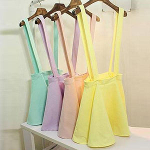 Sexy Womens Candy Color Suspender Skirt Belt Waist Skater Flared Pleated Miniliilgal-liilgal