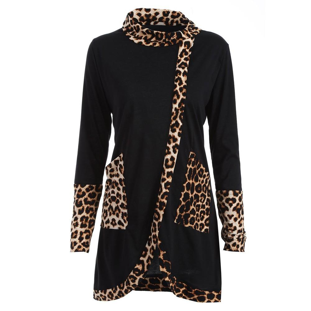 Women Casual Fashion Leopard Print Cowl Neck Long Sleeve Patchwork Shirt Topsliilgal-liilgal