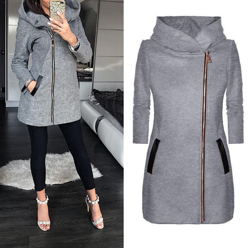 Women Winter Hooded Coat Autumn Zipper Slim Outerwear Spring Fashion Patchwork Blackliilgal-liilgal