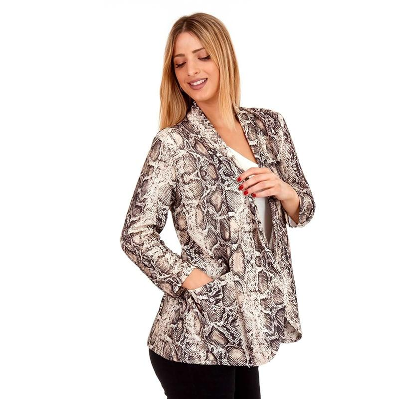 2018 autumn new fashion women's snake print jackets casual long sleeve slimliilgal-liilgal