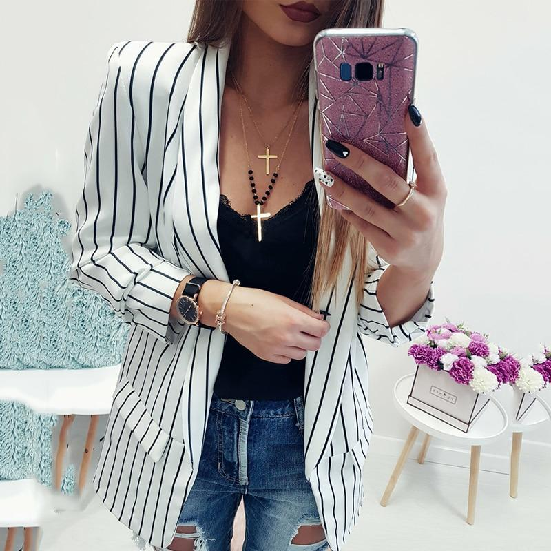 New women's jacket 2018 casual black and white striped women's pioneersliilgal-liilgal