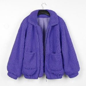 New Women Lambswool Loose Vintage Coat Pocket Jacket Autumn Winter Warm Zipperliilgal-liilgal