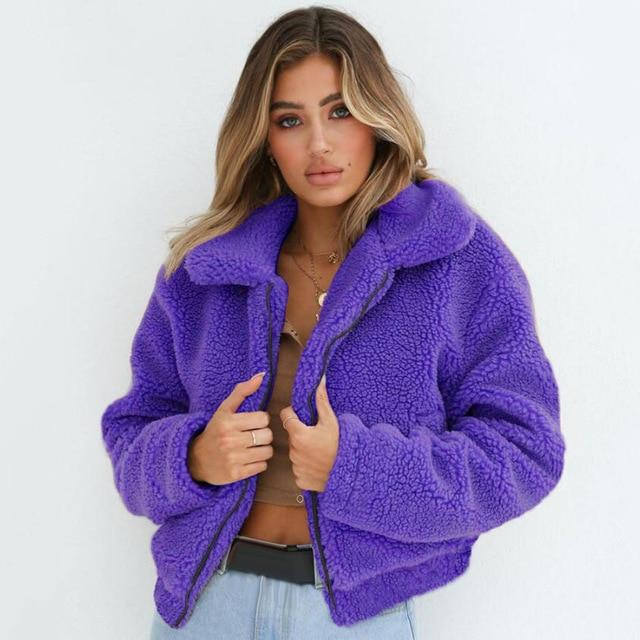 Women Winter Thick Plush Zipper Pockets Overcoat Plus Size Faux Fur Teddyliilgal-liilgal