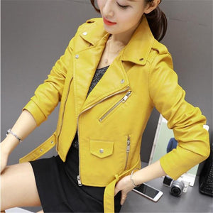 2018 Spring and Autumn Women Leatherette Jacket Coat S-3XL Europe and Americaliilgal-liilgal