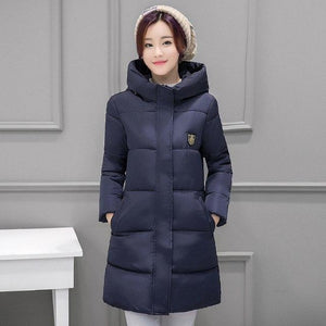 2018 New Winter Jacket Women Long Slim Coat Plus Size Thick Paddedliilgal-liilgal