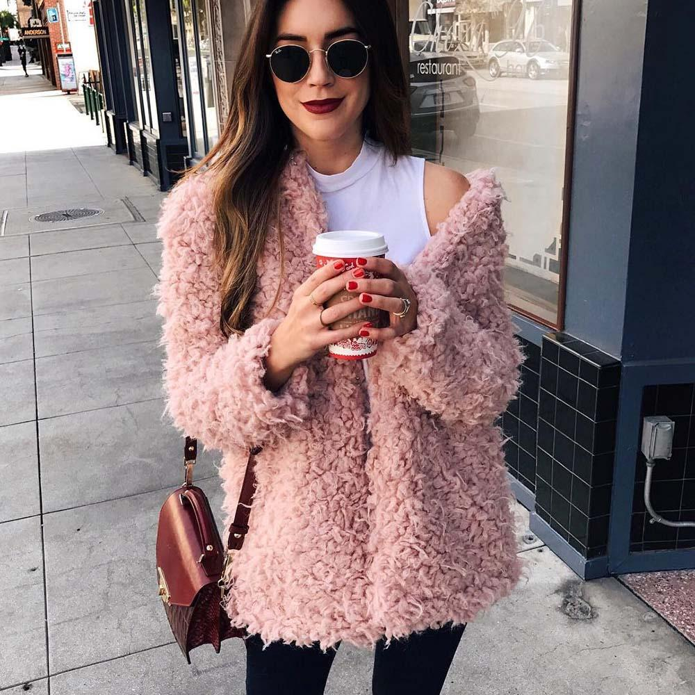Fur Coat Women 2018 Winter Coat Soft Thick Pink Wool Overcoat Turnliilgal-liilgal